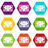 Bundle of money icon set color hexahedron. Bundle of money icon set many color hexahedron isolated on white vector illustration Stock Photography