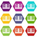 Bundle of money icon set color hexahedron. Bundle of money icon set many color hexahedron isolated on white vector illustration Stock Photo