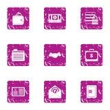 Bundle of money icons set, grunge style. Bundle of money icons set. Grunge set of 9 bundle of money vector icons for web isolated on white background Stock Photography