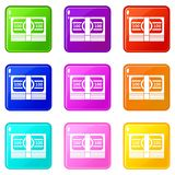 Bundle of money set 9. Bundle of money icons of 9 color set isolated vector illustration Royalty Free Stock Photo