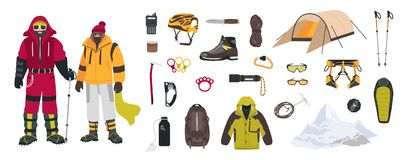 Bundle of mountaineering and touristic equipment, tools for mountain climbing, clothing, male and female mountaineers or Stock Photo