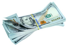 Bundle of new dollar bills Stock Image