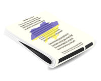 Bundle of newspapers in the foreground anthem of Ukraine. Map of Ukraine Royalty Free Stock Photography