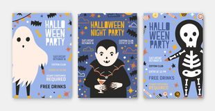 Free Bundle Of Halloween Party Invitation, Flyer Or Poster Templates With Cute Vampire, Skeleton, Spooky Ghost And Place For Stock Images - 130193774