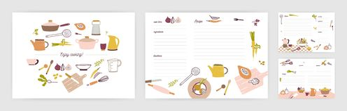 Free Bundle Of Recipe Card Templates For Making Notes About Preparation Of Food And Cooking Ingredients. Clean Cookbook Pages Royalty Free Stock Photography - 135616367