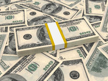 Bundle of one hundred dollars bank notes on the background. Stock Photos