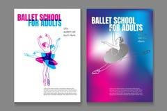Bundle of poster or flyer templates for ballet school or studio for adults with elegant dancing ballerinas wearing tutu vector illustration