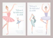 Bundle of poster or flyer templates for ballet school or studio for adults with elegant dancing ballerinas wearing tutu. And place for text on white background Stock Images