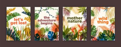 Bundle of poster templates with colorful translucent leaves of tropical jungle plants and inspiring slogans. Set of. Flyers with bright colored foliage of Royalty Free Stock Images