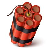 Bundle of red dynamite  on a white background. Stock Images