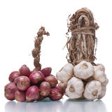 Bundle of  red onion and garlic Stock Photo