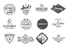 Bundle of 12 retro vintage badges. Labels, logotypes, design elements. Vector Stock Photography