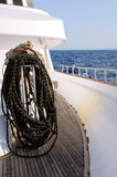 Bundle of rope on marine yacht Stock Images