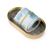 Bundle of russian rubles in can Royalty Free Stock Photography