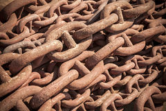 Bundle of rusty naval chain Stock Images