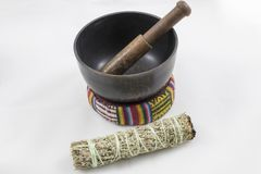 Bundle of Sage with a beautiful singing bowl.  stock photo