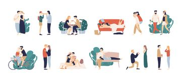 Bundle of scenes with adorable romantic couple. Man and woman kissing, hugging, riding bicycle, walking, eating. Drinking cocktail, lying on sofa. Colorful royalty free illustration