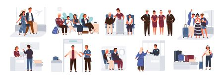 Bundle of scenes with tourists or aircraft passengers. Friends, families with children, couples at check-in, airport. Baggage reclaim area, waiting hall or in royalty free illustration
