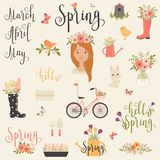 Bundle/set of Spring icons. Vector art Royalty Free Stock Image