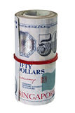 Bundle of Singapore currency. Bundle of Singapore dollar isolated on white background Royalty Free Stock Photos
