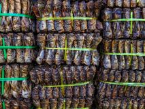 The bundle of skewers smoked fish ready for sell royalty free stock photo