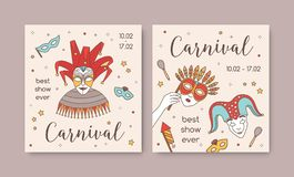 Bundle of square card or party invitation templates with traditional Venetian masks and costumes for carnival, Mardi. Gras celebration or masquerade ball vector illustration