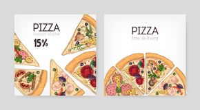 Bundle of square discount voucher templates for Italian restaurant with delicious pizza cut in slices on white. Background. Colorful realistic vector stock illustration