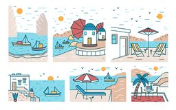 Bundle of summer sceneries with sea or ocean, mountains, sailing boats and seaside resort. Set of beautiful touristic. Landscapes or seascapes. Colorful vector stock illustration
