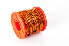 Bundle of thin copper wire isolated on white Stock Image
