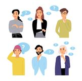 Bundle of thoughtful male and female cartoon characters and thought bubbles with question marks. Collection of portraits stock illustration