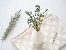 Bundle of thyme sprigs in small white vase over white wooden background. stock photo