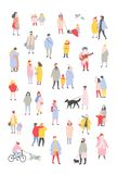 Bundle of tiny people dressed in outerwear walking and performing outdoor activities at Christmas eve. Men and women. Wearing winter clothes isolated on white royalty free illustration