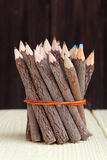 Bundle of tree trunk pencils Royalty Free Stock Photo