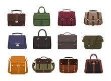 Bundle of trendy men s handbags - cross body, satchel, messenger, holdall bags, suitcase. Modern leather accessories of Stock Photos