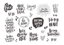 Bundle of trendy monochrome Valentine s day letterings with various phrases, quotes and wishes decorated by hearts hand. Drawn in black and white colors, design Stock Photography