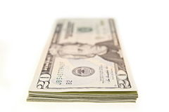 Bundle of twenty dollar bills Stock Images