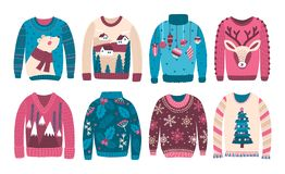 Bundle of ugly Christmas sweaters or jumpers isolated on white background. Collection of odd or strange seasonal woolen. Clothes with holiday prints and vector illustration