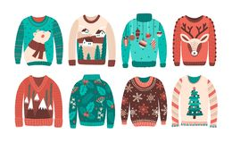Bundle of ugly Christmas sweaters or jumpers isolated on white background. Set of seasonal knitted warm winter clothing. With weird prints. Colorful vector royalty free illustration