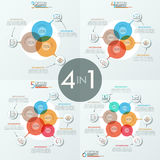 Bundle of 4 unusual infographic design layouts. With 3, 4, 5, 6 overlapping translucent circular elements, icons and text boxes. Vector illustration for Royalty Free Stock Image