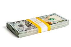 Bundle of 100 US dollars 2013 edition banknotes Royalty Free Stock Photo