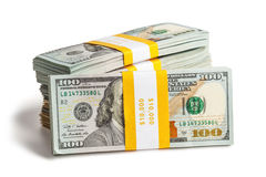 Bundle of 100 US dollars 2013 edition banknotes Stock Photos