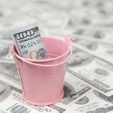 A bundle of US dollars in a metal pink bucket on a set of dollar bills. A bundle of US dollars in a metal pink pail on a set of dollar bills. The concept of stock image