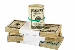 Bundle of US dollars stacked on each other Stock Images