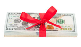 Bundle of US dollars tied with red ribbon Stock Image
