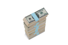 Bundle of us hundred dollars bank notes Stock Image