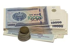 The bundle of Uzbekistani soÊ»m royalty free stock photo