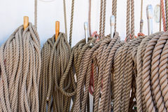 Bundle of various old twisted ropes close up Royalty Free Stock Image