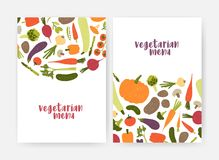 Bundle of vegan menu cover templates decorated with tasty natural fresh raw vegetables and mushrooms on white background Vector Illustration