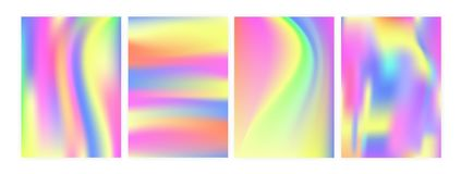Bundle of vertical backgrounds or backdrops with iridescent psychedelic stains, holographic surface imitation. Set of stock illustration