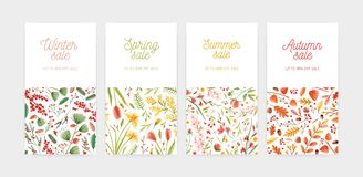 Bundle of vertical banner, promo voucher or coupon templates with seasonal flowers and plants and place for text. Spring royalty free illustration
